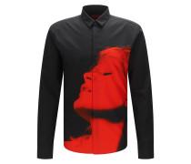 Slim-Fit Hemd aus Baumwolle mit Statement-Print