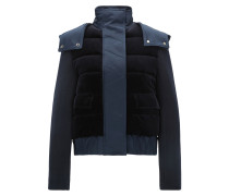 Relaxed-Fit Jacke aus Material-Mix mit Kapuze