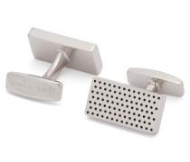 Rechteckige Manschettenknöpfe aus Messing mit Punktemuster aus Emaille