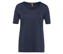 Regular-Fit T-Shirt aus Material-Mix mit Baumwolle