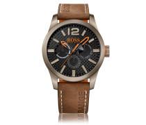 Uhr aus Edelstahl mit Totalisatoren, strukturiertem Zifferblatt und Armband aus Nubukleder