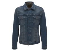 Slim-Fit Jacke aus elastischem, gestricktem Baumwoll-Mix