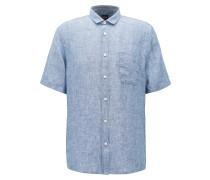 Slim-Fit Kurzarm-Hemd aus garngefärbtem Leinen