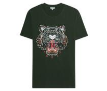 Baumwoll-T-Shirt mit Print  // Tiger Oliv