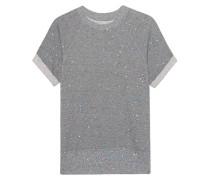 Rolled Sleeve Sweatshirt Grey Paint Splatter
