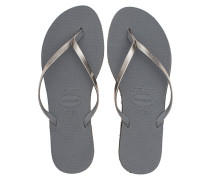 Gummi-Zehensandalen  // You Metallic Silver
