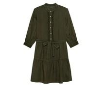 Leinen-Kleid mit Spitzen-Details