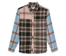 Kariertes Flannel-Hemd mit offenem Saum