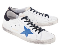 Flache Glattleder-Sneaker  // Superstar White Leather/Bluette Star