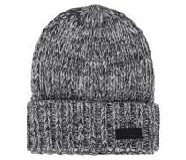 Melierte Grobstrick-Wollmütze  // Knit Black White