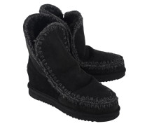 Schafsleder Stiefel  // Eskimo Wedge Short Black