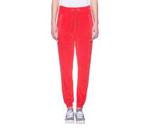 Samt-Sweatpants  // Scarlet Red