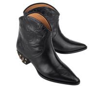 Leder-Boots mit Nieten-Besatz  // Dawina Black