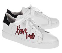Flache Ledersneaker  // 27 Red Love Street White