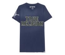 Baumwoll-T-Shirt  // Embroidery Indigo Blue