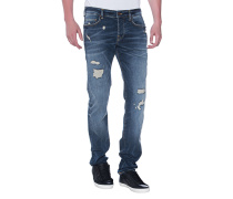 Destroyed Slim-Fit Jeans  // Rocco Destroyed Superstretch Blue Denim