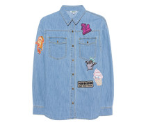 Jeanshemd mit Patches  // Patches Multi Light Blue