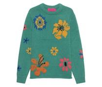 Oversize Cashmere Pullover mit Blumen-Muster