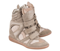 Veloursleder-Wedge-Sneakers  // Bekett Over Basket Taupe
