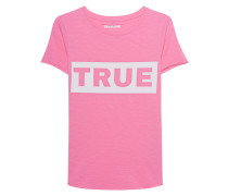 Meliertes Baumwoll-T-Shirt mit Logoprint  // Statement Pink