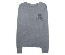 Baumwoll-Longsleeve mit Print  // Long Skull Grey Marl