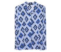Gemusterte Seidenbluse  // Pyjama Blue