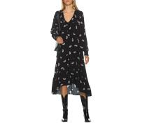 Gemustertes Kleid mit Volants-Ausschnitt