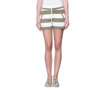 Gemusterte Jogging-Shorts aus Viskose  // Stripe Short White Oliv