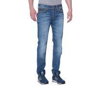 Washed-Out Slim-Leg Jeans  // Rocco Flap Super T Blue Metal