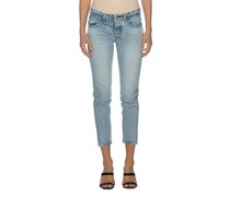 High-Waist Washed-Out Tapered Jeans