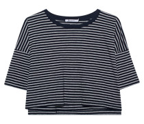 Gestreiftes kurzes T-Shirt  // Stripe Crop Grey Blue