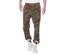 Gemusterte Baumwoll-Trackpants  // Diag Camou Washed Trackpan All Over
