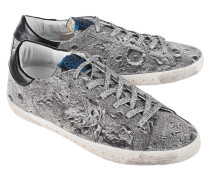 Flache Sneakers  // Superstar Special Silver Glitter Landed