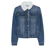 Jeansjacke mit Fell  // Trucker Denim Blue
