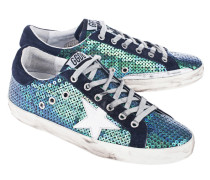 Pailetten-besetzte Leder-Sneaker  // Superstar Blue Pailettes