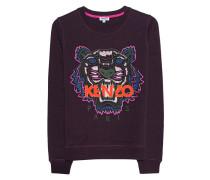 Sweatshirt mit aufgesticktem Tiger  // Tiger Classic Aubergine