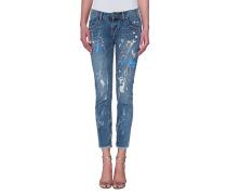 Destroyed Skinny-Jeans mit Farbspritzern  // Artiste Ryle Freebird Royale