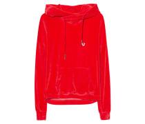 Samt-Hoodie  // Boxy Crop Red