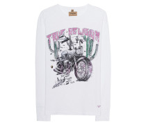 Meliertes Baumwoll-Longsleeve mit Print  // Desert Bike Long White