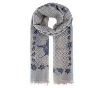 Schal mit Print  // Light Pashmina Blue Beige