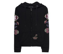 Hoodie mit Blütenstickerei  // Hooded Jacket Flower Black