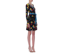 Gemustertes Seiden-Wickelkleid  // Wrap Dress Black Floral