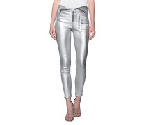 Lederhose im Metallic-Look  // Diavolina Argent