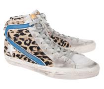 High-Top-Sneaker mit Leo-Fell  // Slide Leo