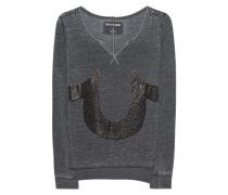 Sweatshirt mit Strass-Verzierung  // Crew Fleece Relax Horseshoe Black