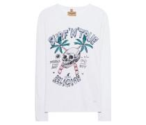 Meliertes Baumwoll-Longsleeve mit Print  // Surf Skull Long White