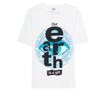 Baumwoll-T-Shirt mit Print  // Out Earth Is A Gift White