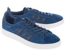 Flache Veloursleder-Sneakers  // Campus Navy