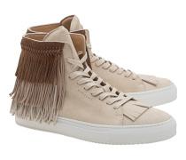 Hohe Veloursleder-Sneakers  // 125MM Tri Fringe Magnolia Beige