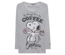 Bedrucktes Longsleeve  // Snoopy Coffee Grey